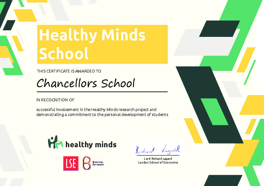 Healthy Minds Certificate